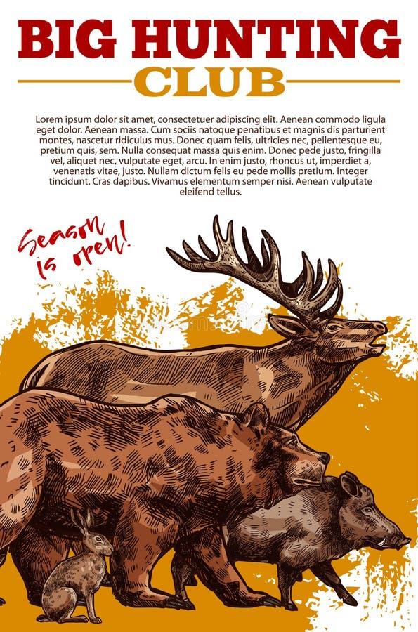 Vektorn skissar affischen av jaktklubbavilda djur vektor illustrationer