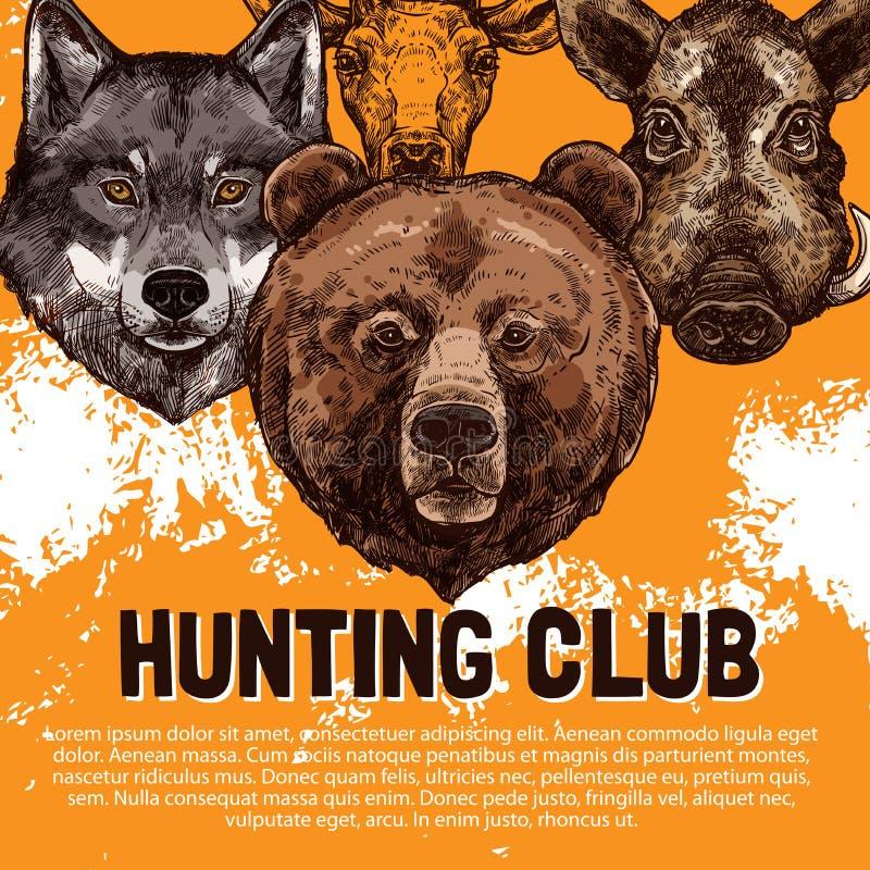 Vektorn skissar affischen av vilda djur som jagar klubban stock illustrationer