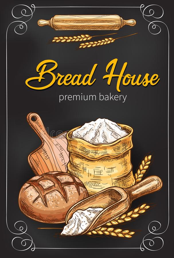 Vektorn skissar affischen för bageribrödhus royaltyfri illustrationer