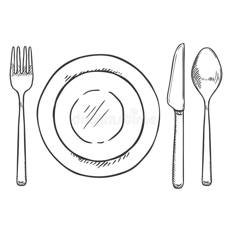 Vektorn skissar att äta middag uppsättningen - gaffel, kniv, sked och plattor royaltyfri illustrationer
