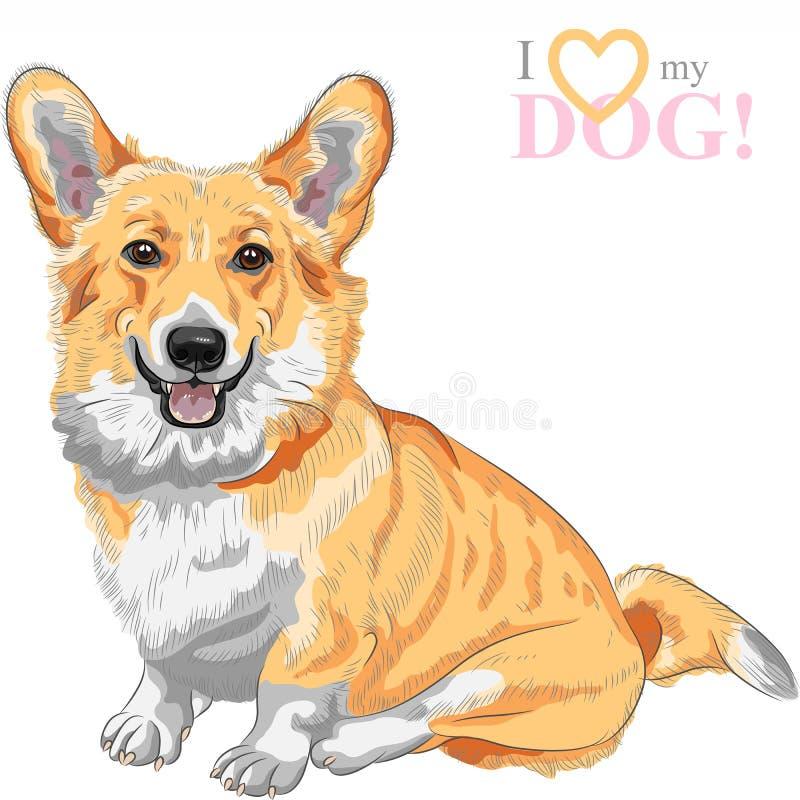 Vektorn skissar att le för den hundPembroke Welsh corgien stock illustrationer