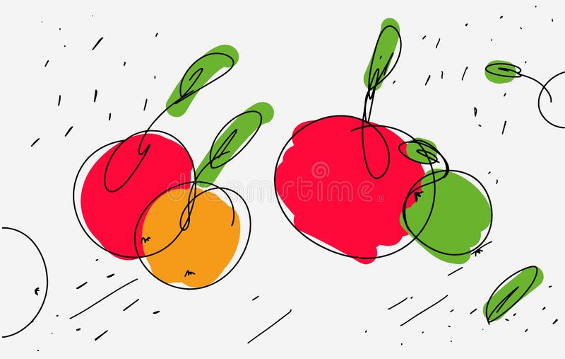 Vektorn skissar av äpplen i eklektisk stil Ljus tunn linjer och krullning med kulöra brytningar på äpplet Bruk som symbolsklister royaltyfri illustrationer