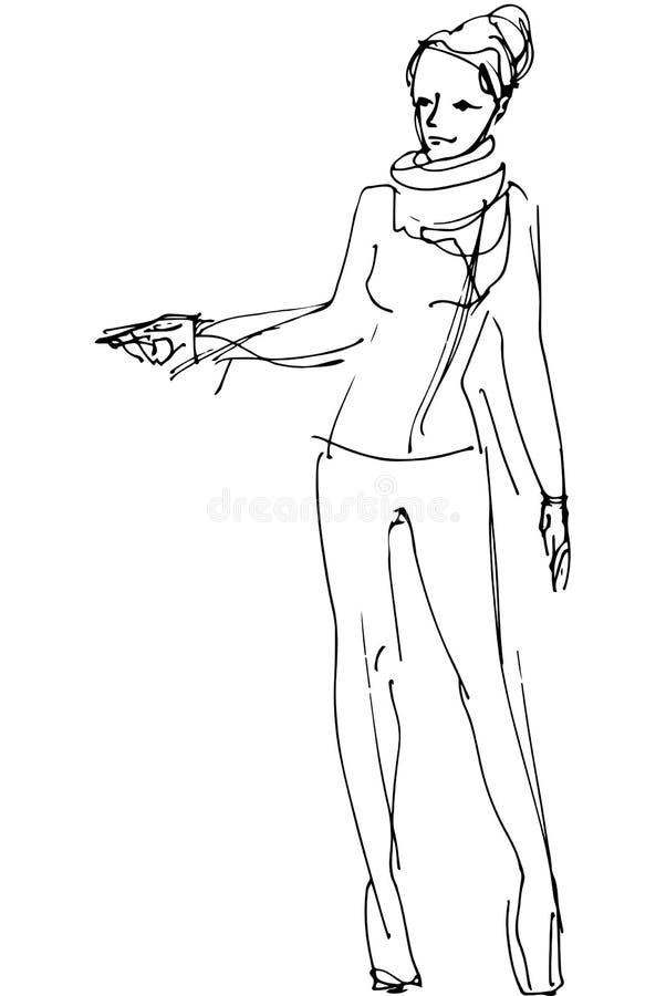 Vektorn skissar av en kvinna pekar riktning royaltyfri illustrationer
