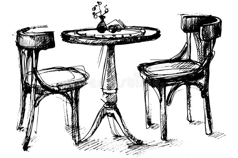 Vektorn skissar av en rund trätabell och två stolar i Wien royaltyfri illustrationer