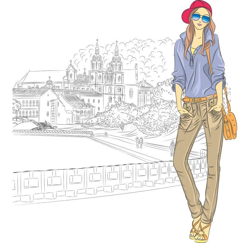 Vektorn skissar av en stilfull flicka för mode i det gammalt royaltyfri illustrationer
