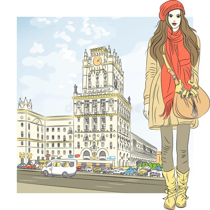 Vektorn skissar av en stilfull flicka i stad-centrera royaltyfri illustrationer