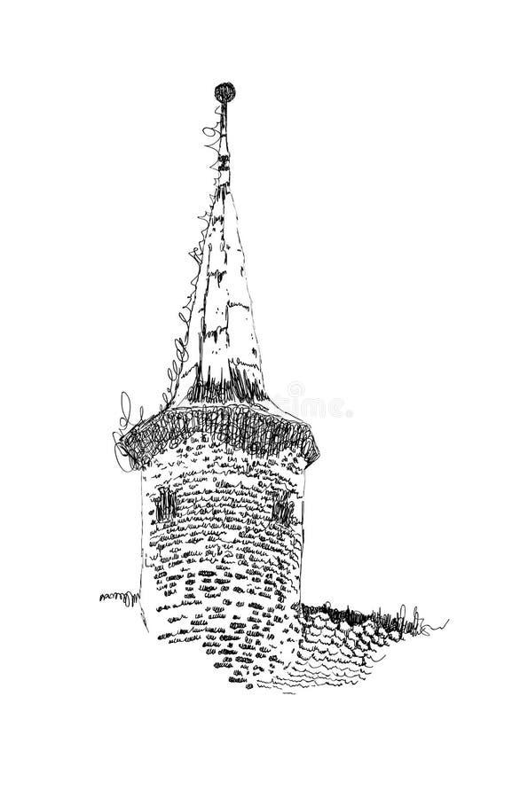 Vektorn skissar av europeisk byggnad, det gamla tornet, utdragen illustration för hand i svartvita färger stock illustrationer