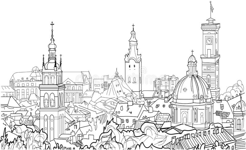 Vektorn skissar av gataplats i Lviv, Ukraina stock illustrationer