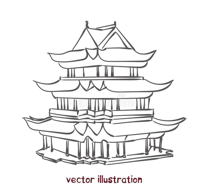 Vektorn skissar av kinesisk pagod vektor illustrationer