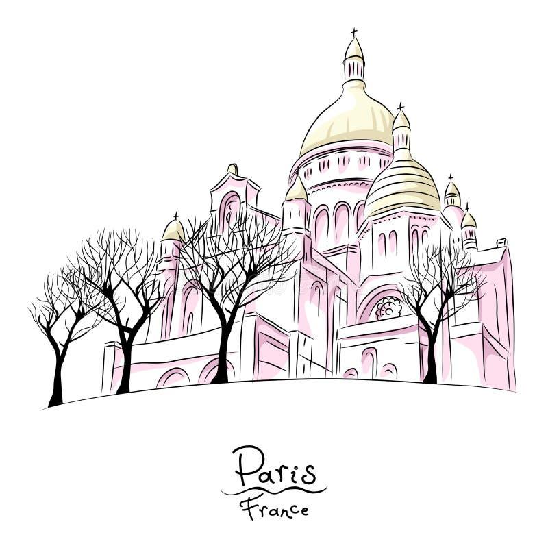 Vektorn skissar av Sacre Coeur i Paris, Frankrike stock illustrationer