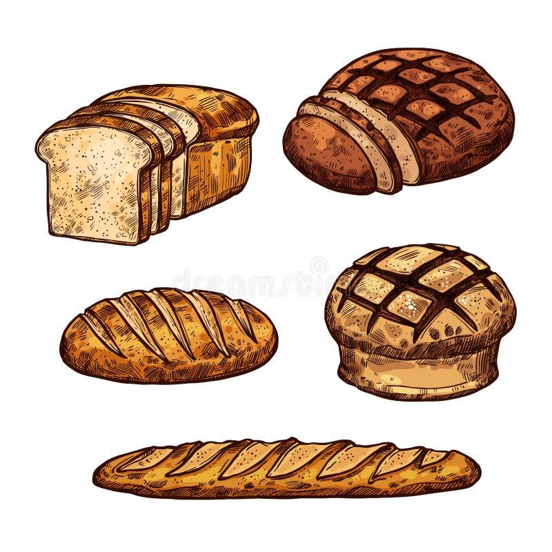 Vektorn skissar brödfärgsymboler av bagerit shoppar vektor illustrationer