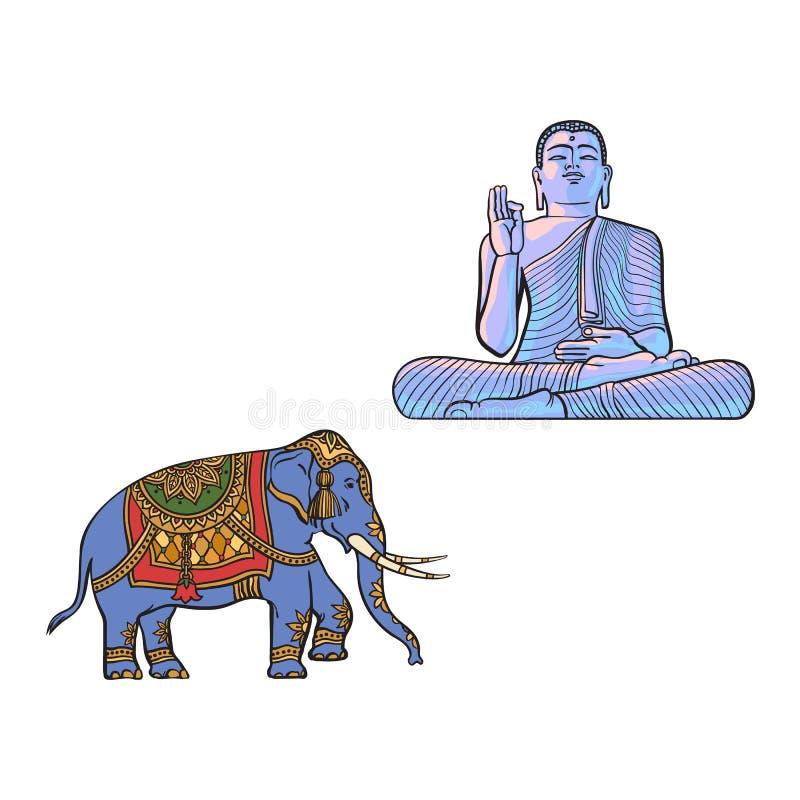 Vektorn skissar den buddha statyn, dekorerad elefant vektor illustrationer