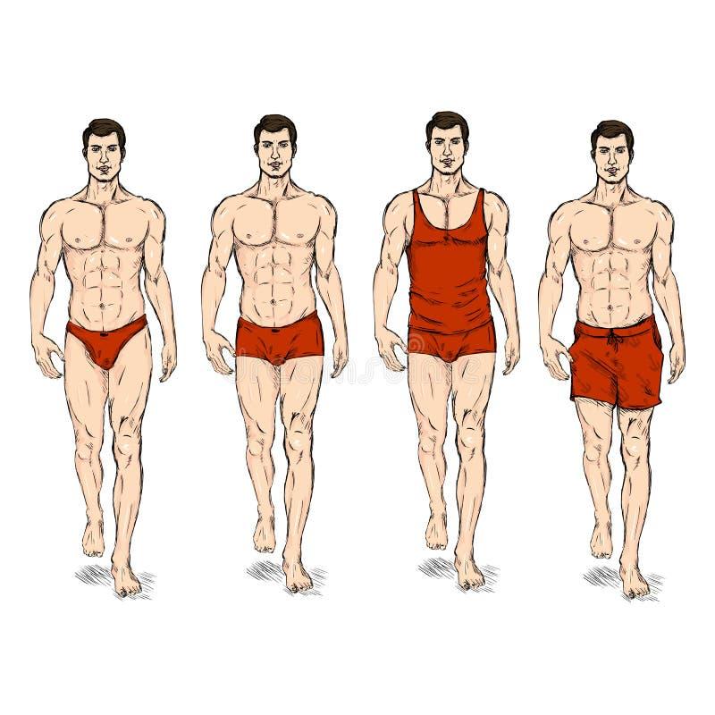 Vektorn skissar den manliga modellen för mode i underkläder royaltyfri illustrationer