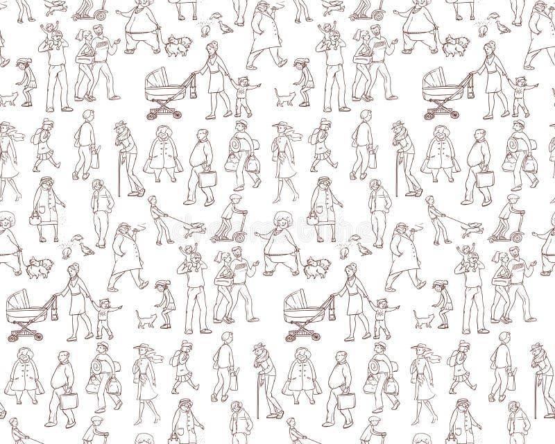 Vektorn skissar den sömlösa modellen av illustrationer som går stads- invånare Barn och vuxna människor på gatan i staden vektor illustrationer