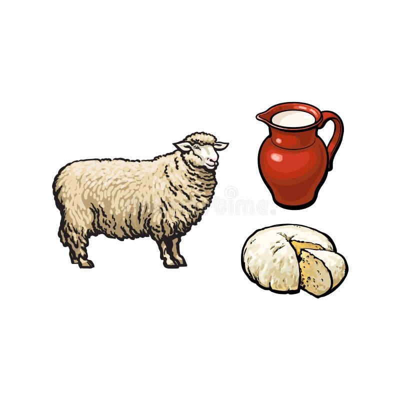 Vektorn skissar får, mjölkar och den isolerade ostuppsättningen royaltyfri illustrationer