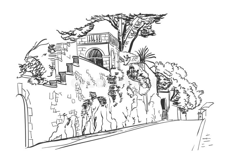 Vektorn skissar för stadsKroatien för illustrationen europeisk byggnad för väggen för staden royaltyfri illustrationer