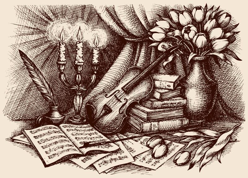 Vektorn skissar Fiol på gamla böcker royaltyfri illustrationer