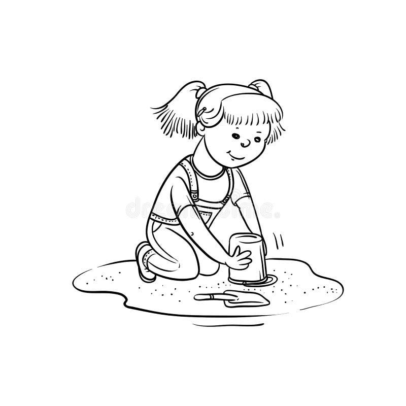 Vektorn skissar flickalek i sandlåda Aktiv för det lilla barnet går i sommar på utomhus- Isolerad linje för tecknad film svart vi royaltyfri illustrationer