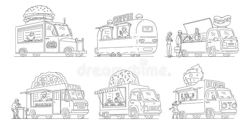 Vektorn skissar glasssk?pbilen i tappningstilupps?ttning stock illustrationer