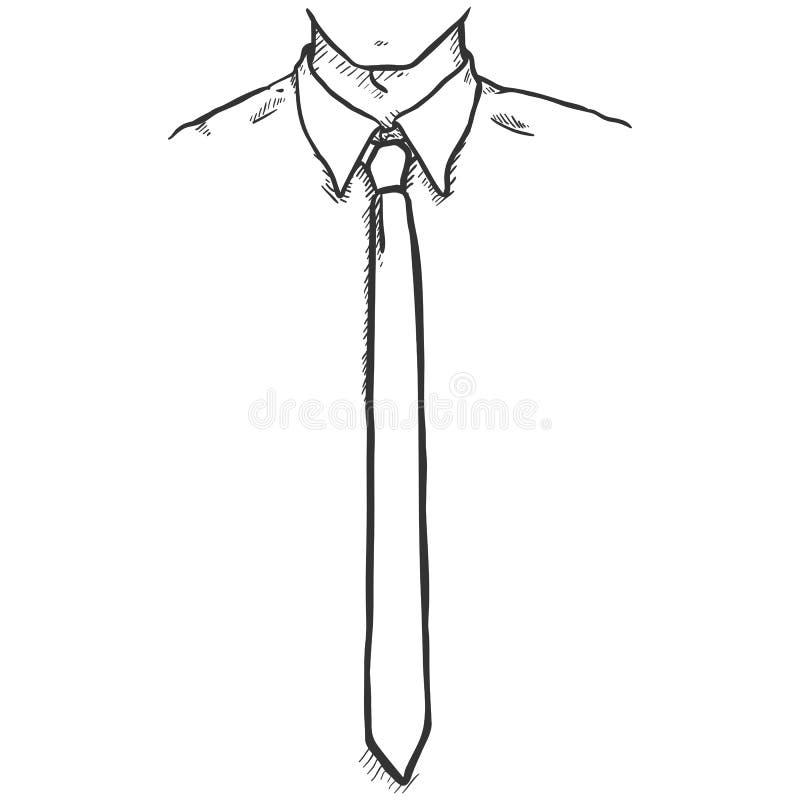Vektorn skissar handen drog illustrationen - kontorsanställd i skjorta och slips stock illustrationer