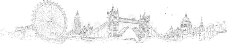 Vektorn skissar handen som drar den london konturn royaltyfri illustrationer