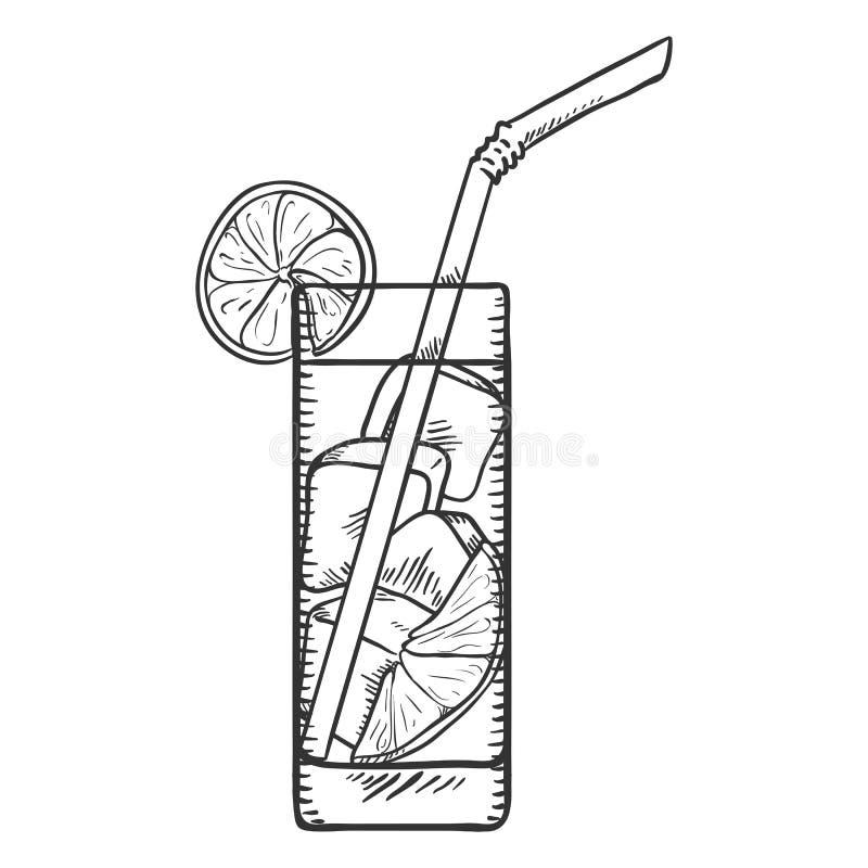 Vektorn skissar illustrationen - exponeringsglas av lemonad stock illustrationer