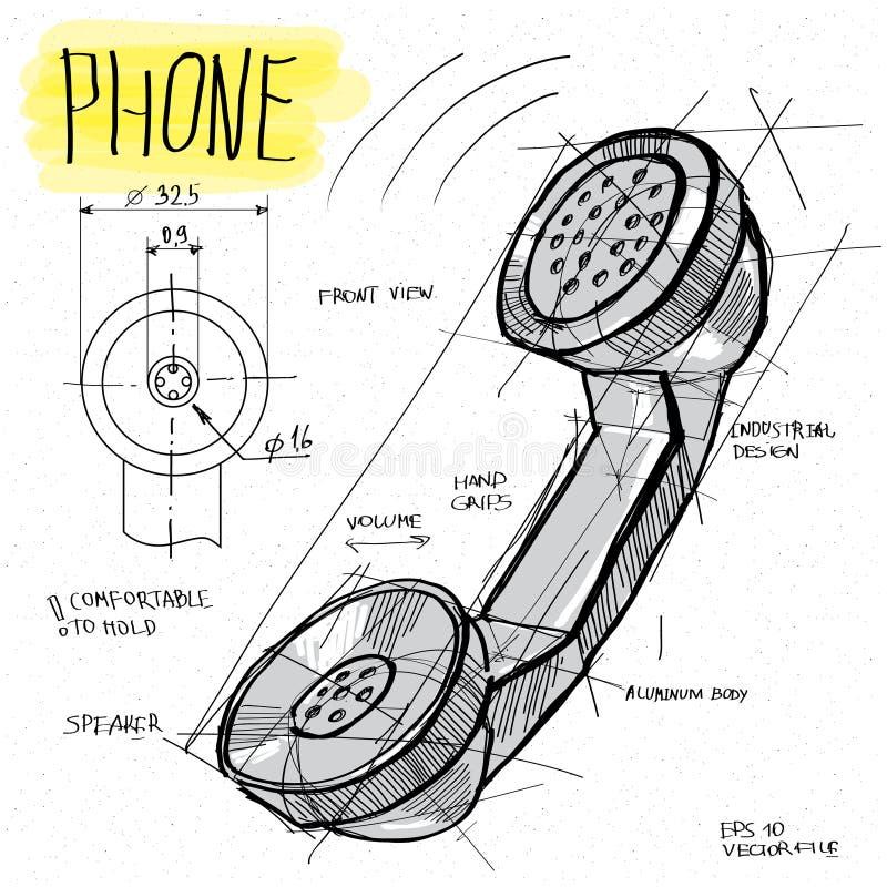 Vektorn skissar illustrationen - telefontelefonlur royaltyfri illustrationer