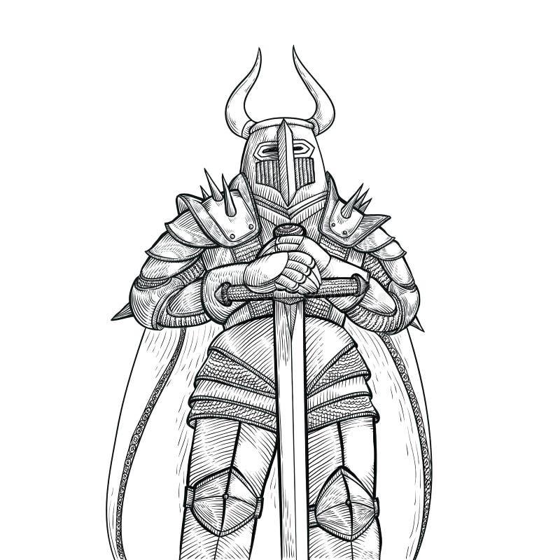 Vektorn skissar illustrationen vid handen Medeltida riddare i heavy metalharnesk och ett stort svärd mot den vita bakgrunden vektor illustrationer