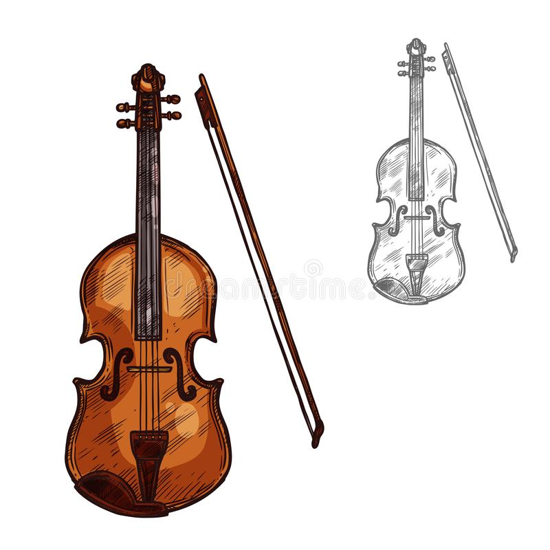 Vektorn skissar instrumentet för kontrabasfiolmusik vektor illustrationer