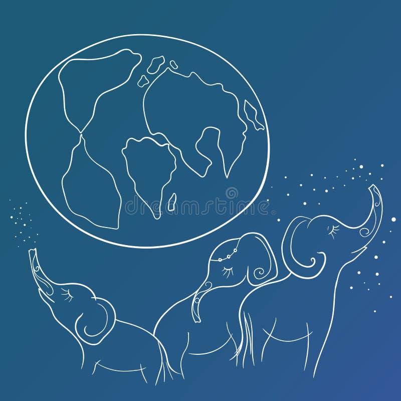 Vektorn skissar med elefantfamiljen och jorden stock illustrationer