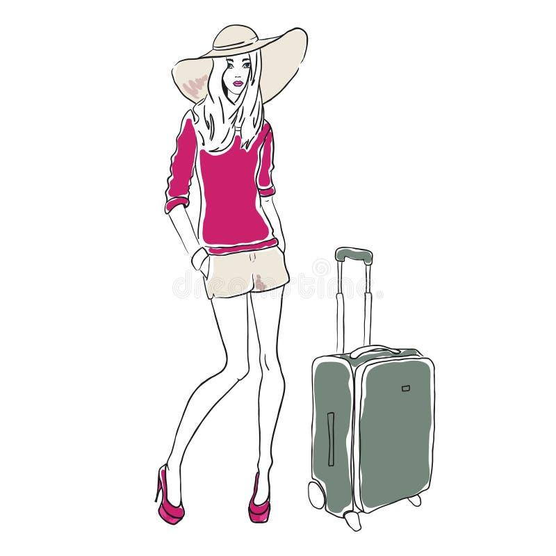 Vektorn skissar modekvinnan stock illustrationer