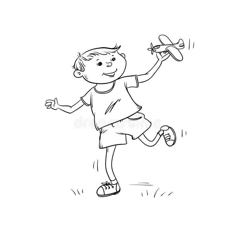 Vektorn skissar roliga pojkekörningar med leksaknivån i hans hand Den aktiva lekbarntonåringen går i sommar på utomhus- svart royaltyfri illustrationer