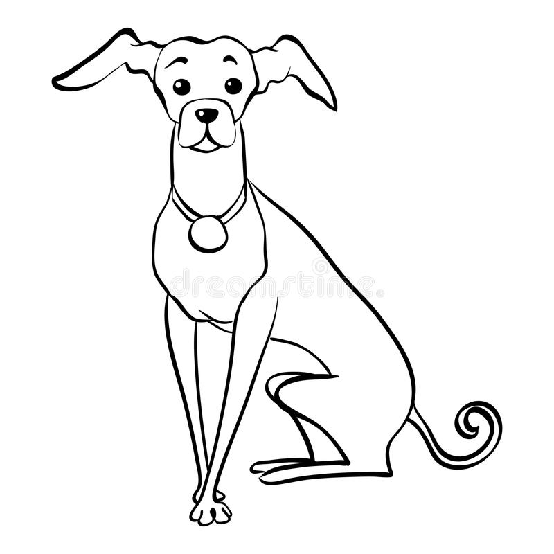 Vektorn skissar roligt hundsammanträde för italiensk vinthund vektor illustrationer