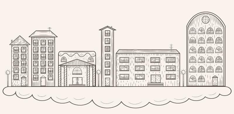 Vektorn skissar staden royaltyfri illustrationer