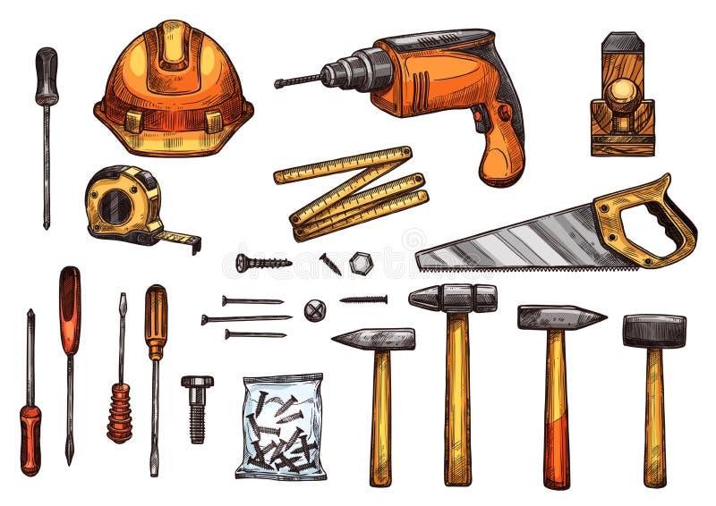 Vektorn skissar symboler av arbetshjälpmedel vektor illustrationer