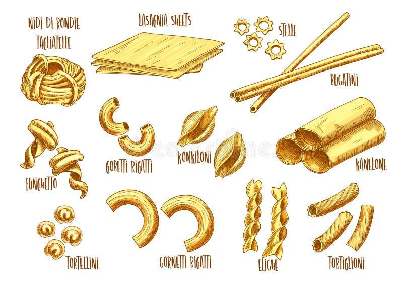 Vektorn skissar symboler av italiensk pastavariation stock illustrationer