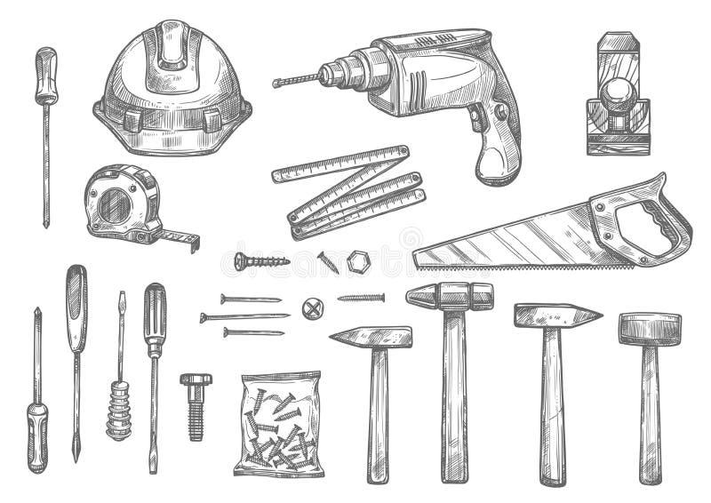 Vektorn skissar symboler av reparationsarbetshjälpmedel royaltyfri illustrationer