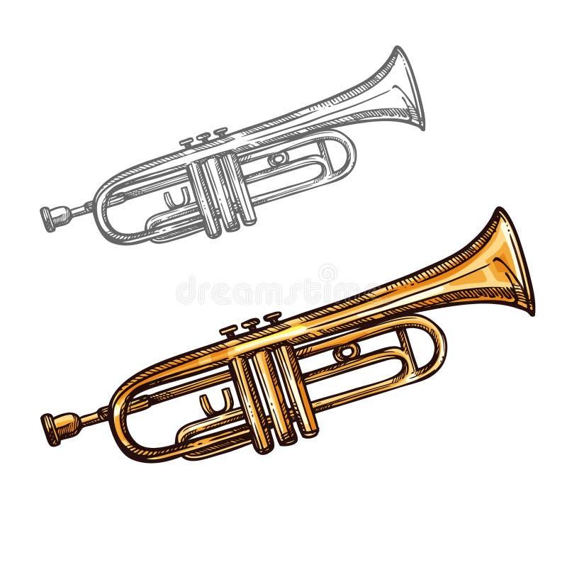 Vektorn skissar trumpetmusikinstrumentet vektor illustrationer
