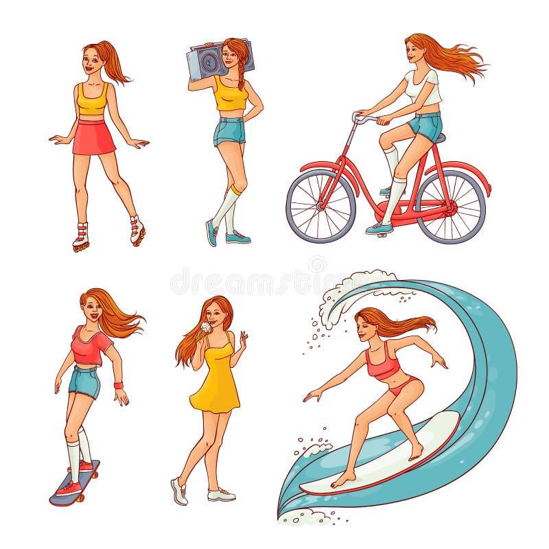Vektorn skissar uppsättningen för flickasommarfritidsaktivitet stock illustrationer
