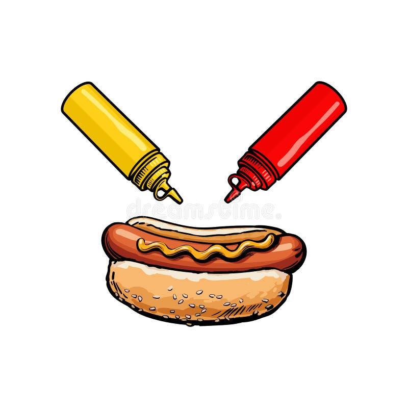 Vektorn skissar varmkorven, ketchupsenapflaskor ställde in royaltyfri illustrationer