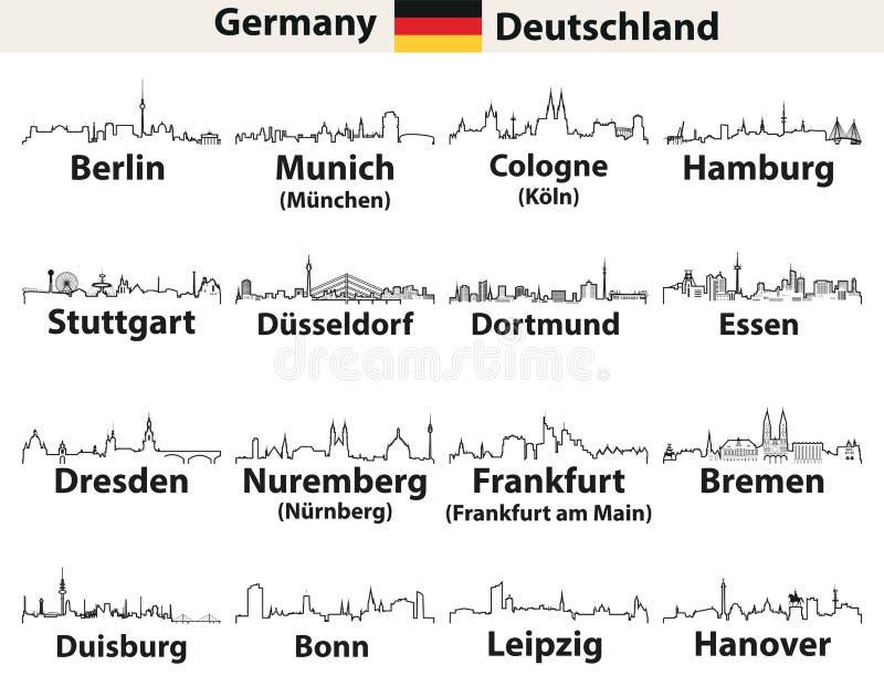 Vektorn skisserar symboler av Tysklandstadshorisonter royaltyfri illustrationer