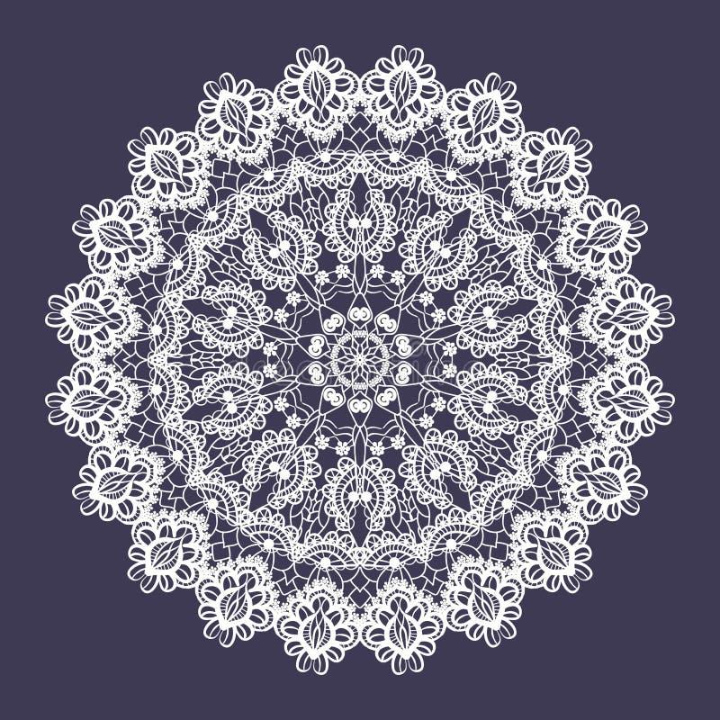 Vektorn snör åt den runda prydnaden Indisk dekorativ mandala Efterföljd av handarbetedesignen royaltyfri illustrationer