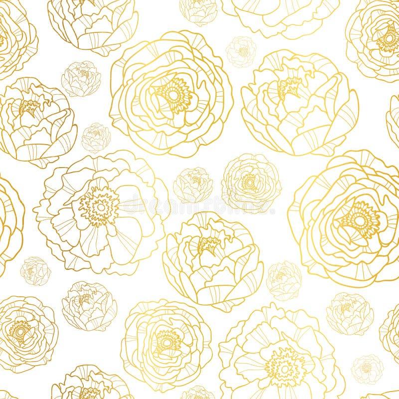 Vektorn som är guld- på den vita pionen, blommar sömlös modellbakgrund för sommar Utmärkt för elegant guld- texturtyg, kort stock illustrationer