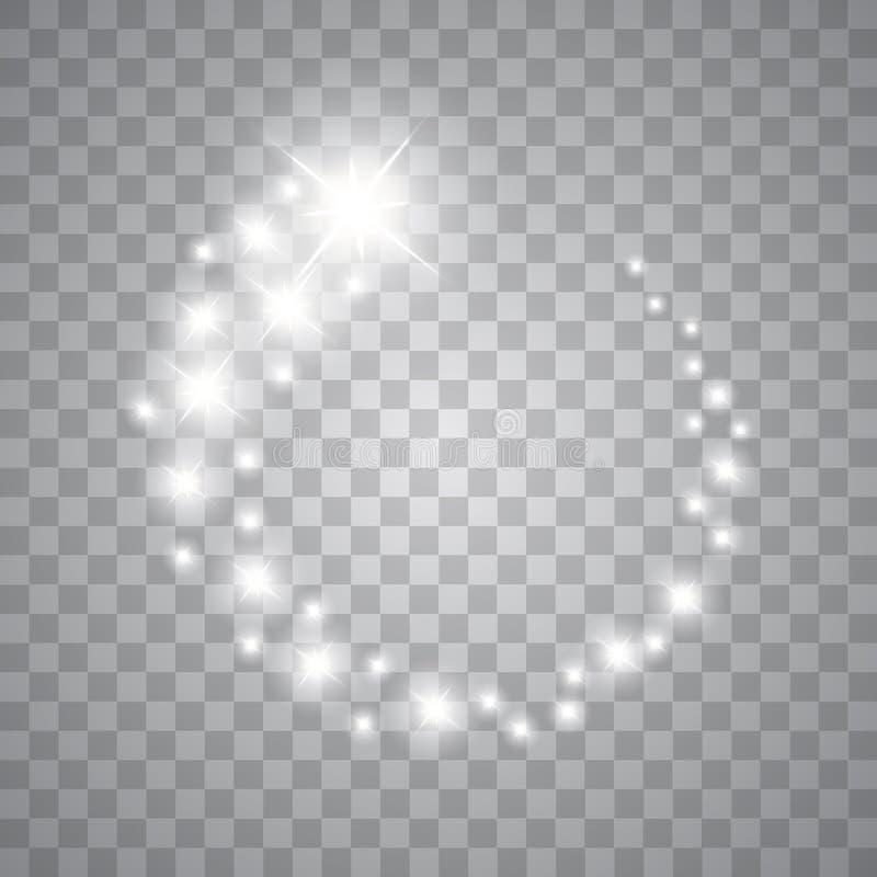 Vektorn som glöder stjärnor, ljus och, mousserar Genomskinliga effekter vektor illustrationer