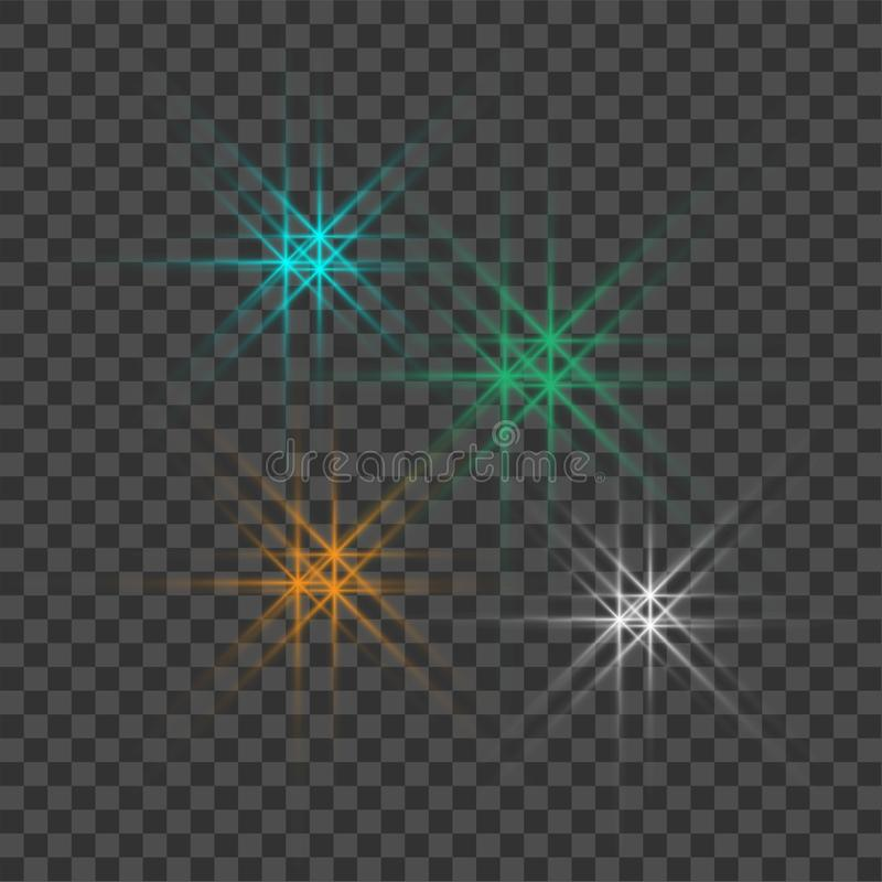 Vektorn som gl?der ljusa bristningar med, mousserar p? genomskinlig bakgrund vektor illustrationer