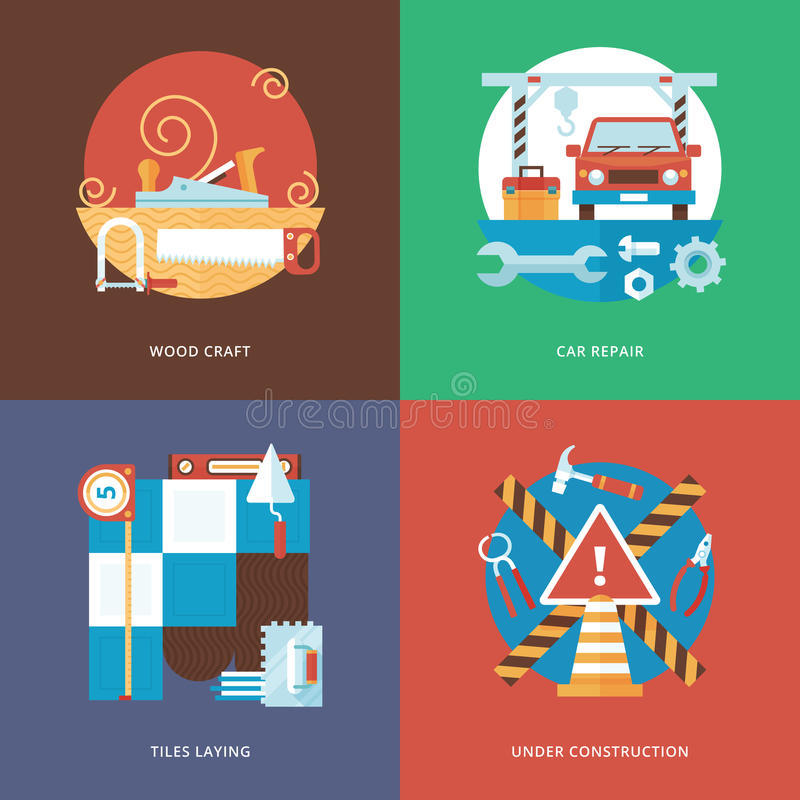 Vektorn som konstruerar hantverket, service och garnering, ställde in för apps för rengöringsdukdesign och mobil stock illustrationer