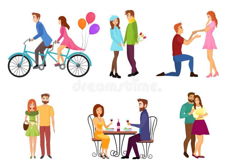 Vektorn som romantiska datummärkningpar sänker tecken, ställde in med unga vänner Folk som kysser, gå som ger gåvor royaltyfri illustrationer