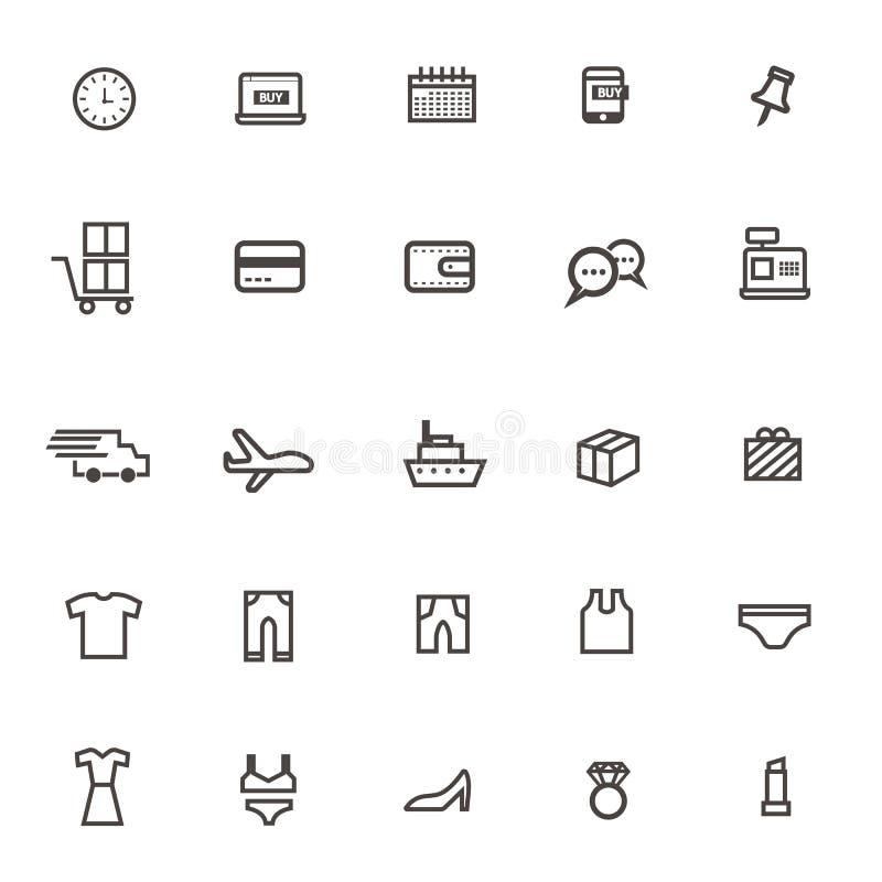Vektorn som shoppar online-rengöringsduk fodrar thin, symboler på vit bakgrund royaltyfri illustrationer