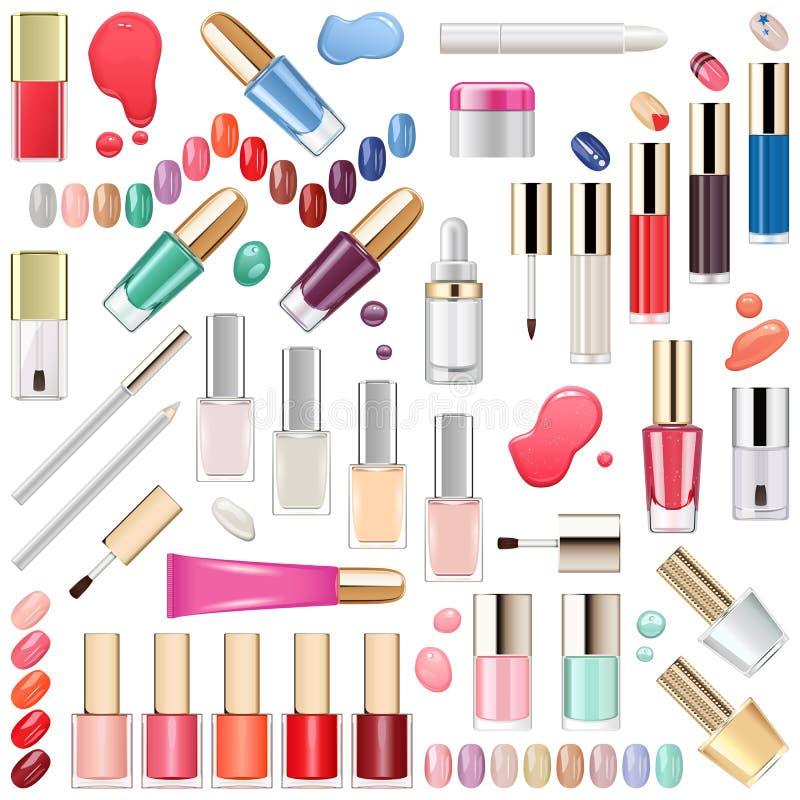 Vektorn spikar makeupskönhetsmedel vektor illustrationer