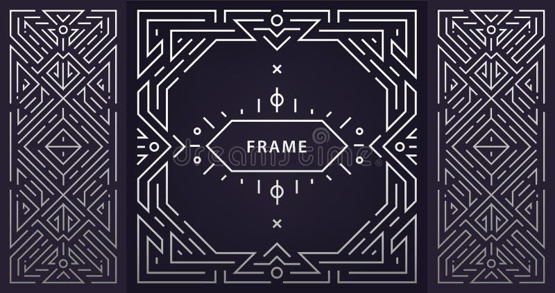 Vektorn ställde in av abstrakta art décoramar Linjär modern stil, märker geometriska baner, den lyxiga förpackande designen, affi royaltyfri illustrationer